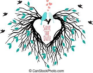 heart wedding tree with birds