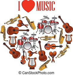 Heart with musical instruments for arts design