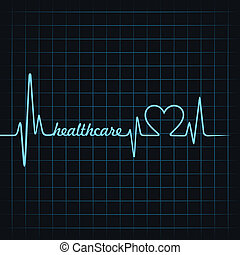 heartbeat make healthcare text and heart symbol stock vector