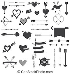 Hearts and Arrows Set - for Valentine's Day, Wedding, Design, Scrapbook - in vector