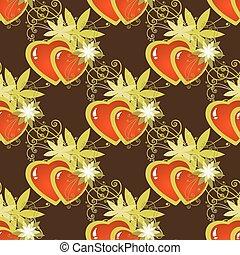 hearts dark seamless pattern