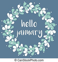 Hello january winter watercolor vector wreath card