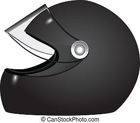 Racer helmet - accessory athlete uniforms. Vector illustration.