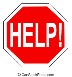 Help on an octagonal traffic stop sign background