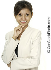 A smiling asian woman in a white jacket