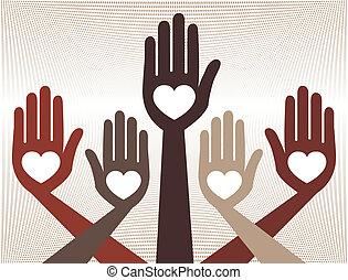 Helpful united hands design vector.