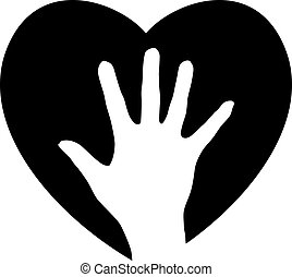 Helping Hand in the heart. Illustration for design on white background