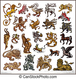 heraldic beast collection on white background. Color.