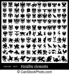 heraldic beasts isolated on light background