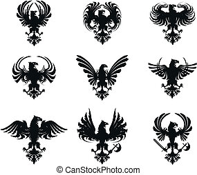 heraldic eagle coat of arms set in vector format very easy to edit