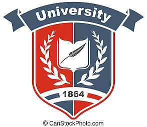 Heraldic sign of university with book on shield