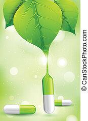 illustration of herbal medicine formed by leaf juice