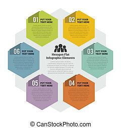 Vector illustration of hexagon flat infographic element.