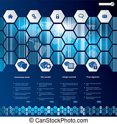 Hexagon style web template design with products