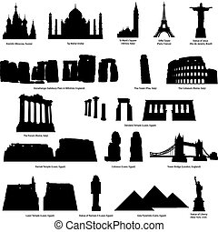 High Detail landmarks silhouette set with descriprion of title and place. Vector illustration.