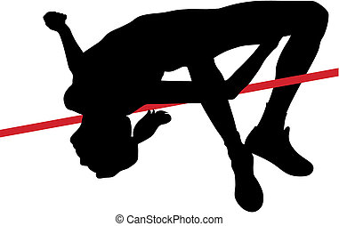 Abstract vector illustration of high jumper woman