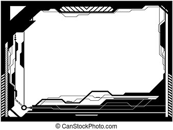 Editable vector high-tech futuristic frame with space for your text or image