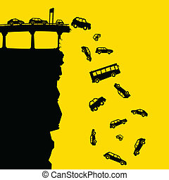 Cartoon silhouette of vehicles falling off a cliff from a broken raised highway.