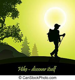 Hiking man with rucksack