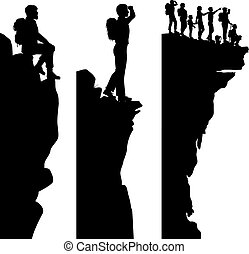 Three editable vector side panel silhouettes of hikers standing on top of a cliff or outcrop with all people as separate objects