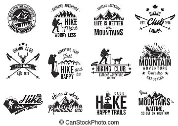 Hiking club badge. Mountains related typographic quote. Vector illustration. Concept for shirt or logo, print, stamp.