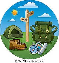 hiking tourism icon