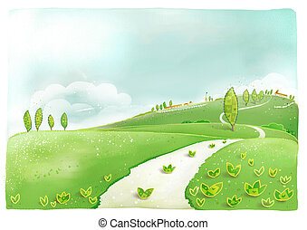 a beautiful drawing of plant and road and houses in countryside
