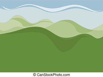 The empty landscape with hills as a background