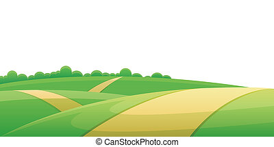 Road through hill landscape with rural farmland on the side