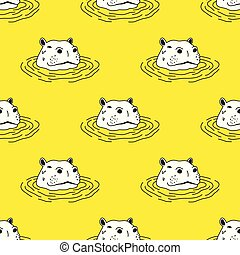 Hippo hippopotamus Seamless Pattern Vector wallpaper background