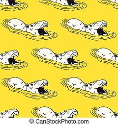 Hippo Seamless Pattern hippopotamus Vector isolated wallpaper background Yellow