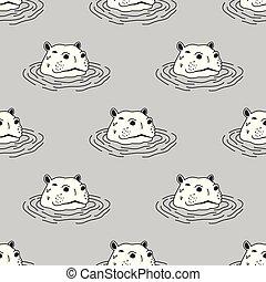 Hippo Seamless Pattern hippopotamus Vector wallpaper background