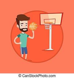 Hipster basketball player spinning ball.