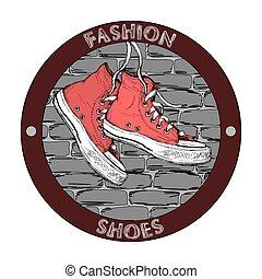 Hipster gumshoe logo. Grunge hand drawn vector design template. Shoe icon