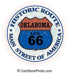 historic route oklahoma grunge stamp with on vector illustration
