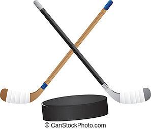 hockey stick and hockey puck isolated vector illustration