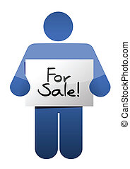 holding a for sale sign. illustration design over a white background