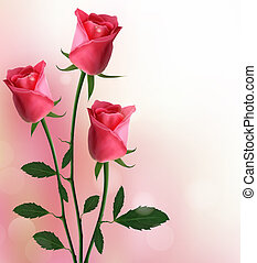 Holiday background with beautiful red roses Vector illustration