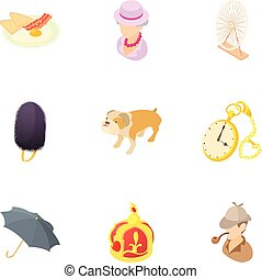 Holiday in England icons set, cartoon style