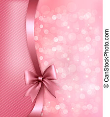Holiday pink background with old paper and gift bow and ribbon. Vector
