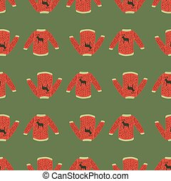 Holiday xmas red sweater doodle seamless pattern in hand drawn style. Green background.