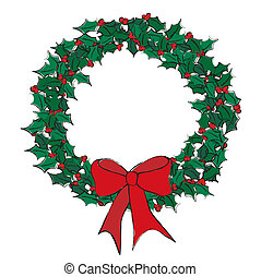 A vector illustration of a holly wreath on white. Sketch style with space for text