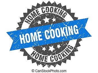 home cooking stamp. grunge round sign with ribbon