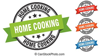 home cooking stamp. round band sign set. label