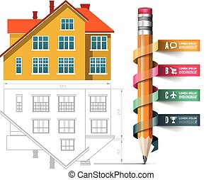 Home icon and drawing with a pencil
