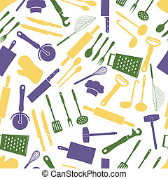 home kitchen cooking utensils color pattern eps10