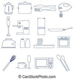 home kitchen outline icons theme set eps10