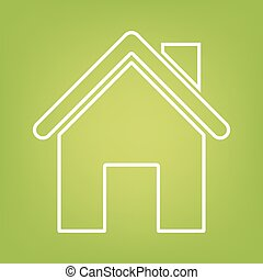 Home line icon on green background
