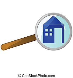 Glossy illustration of a magnifying lens over a house