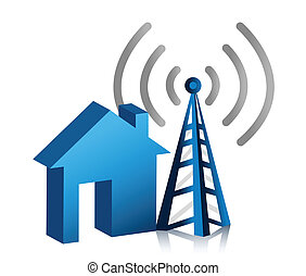 Home wireless connection illustration design over white